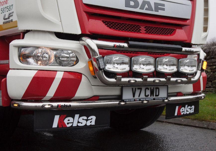 Přední nerezový rám Kelsa MultiBar 18T pro  DAF LF Euro6 45/55 se sluneční clonou