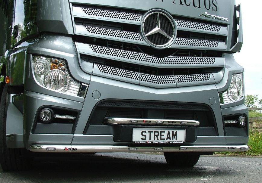 Nerezový rám po nárazník Kelsa LoBar pro  Mercedes Actros 2012-on Streamspace 2.5m