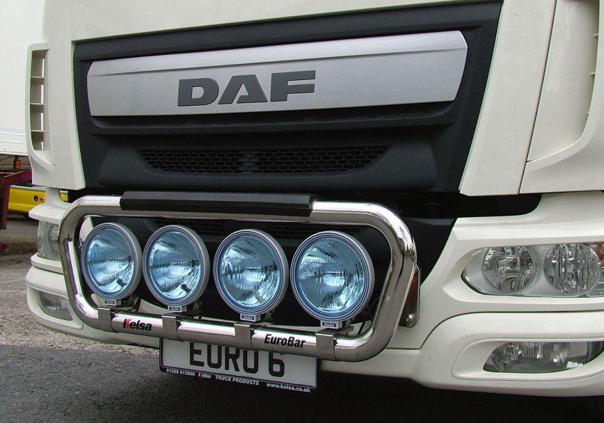 Přední nerezový rám Kelsa EuroBar18T pro  DAF LF Euro6 45/55 se sluneční clonou