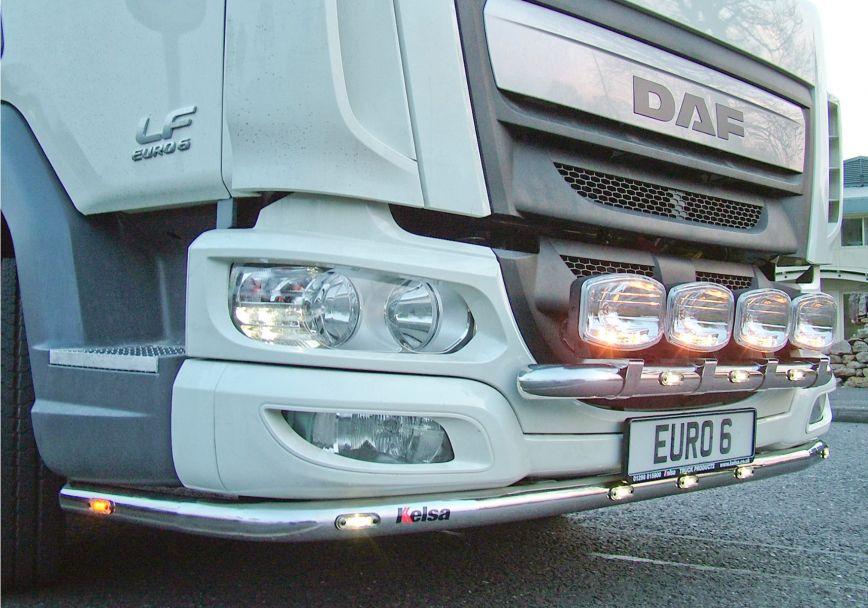 Nerezový rám po nárazník Kelsa LoBar pro  DAF LF Euro6 45/55 se sluneční clonou